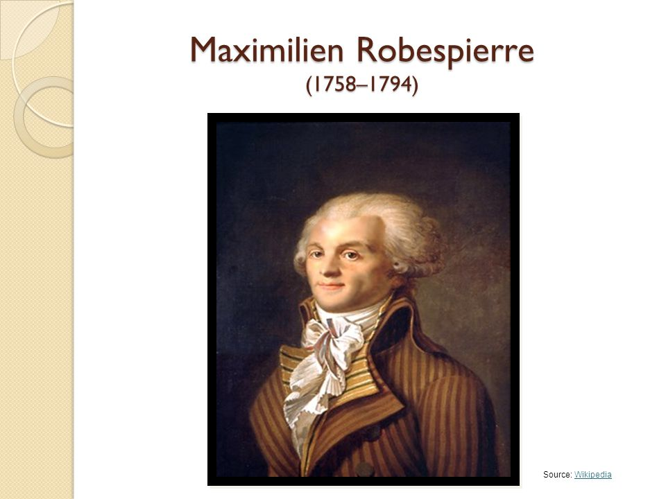 Maximilien Robespierre (1758–1794) Source: WikipediaWikipedia