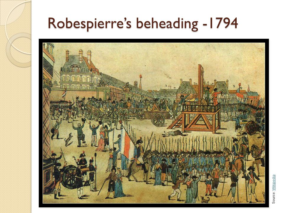 Robespierre's beheading -1794 Source: WikipediaWikipedia