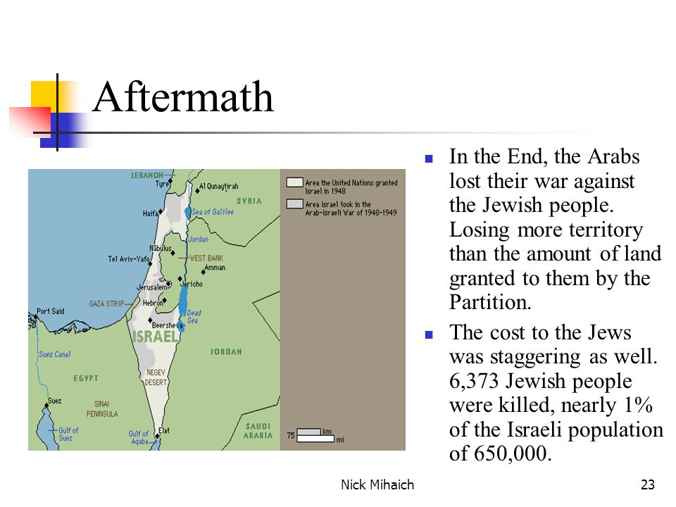 Nick Mihaich23 Aftermath In the End, the Arabs lost their war against the Jewish people.