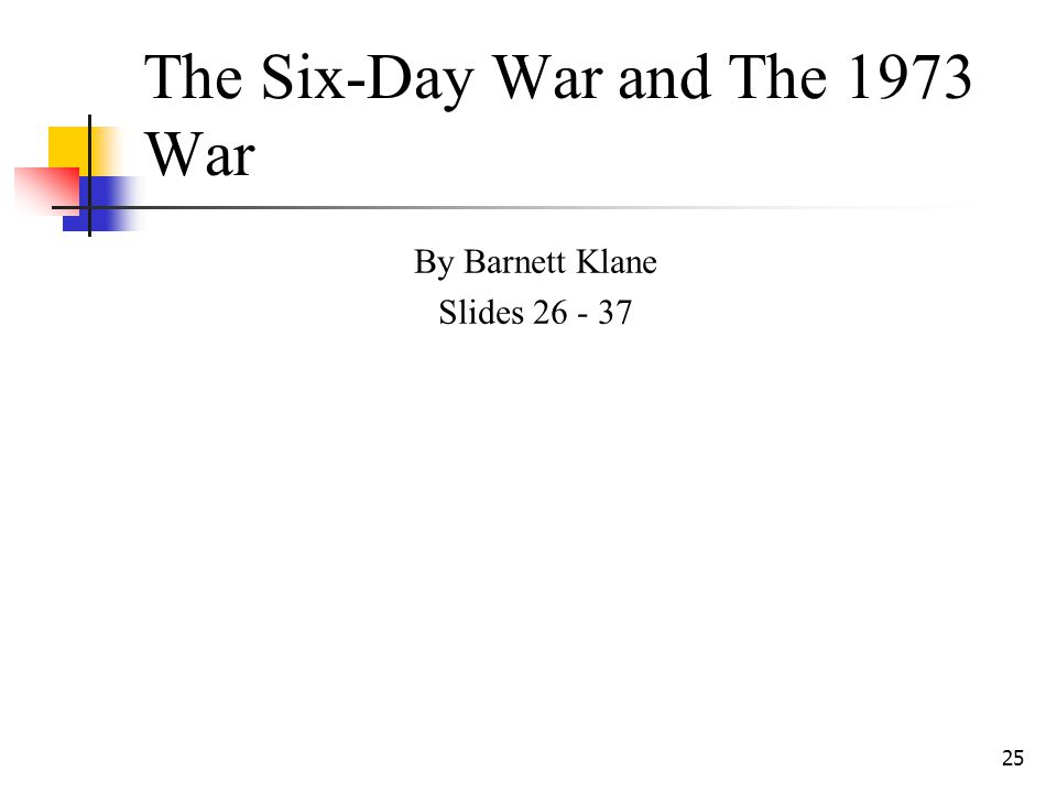 25 The Six-Day War and The 1973 War By Barnett Klane Slides 26 - 37