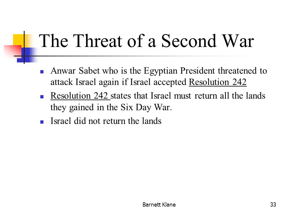 Barnett Klane33 The Threat of a Second War Anwar Sabet who is the Egyptian President threatened to attack Israel again if Israel accepted Resolution 242 Resolution 242 states that Israel must return all the lands they gained in the Six Day War.