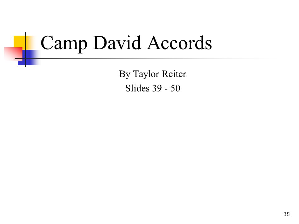 38 Camp David Accords By Taylor Reiter Slides 39 - 50