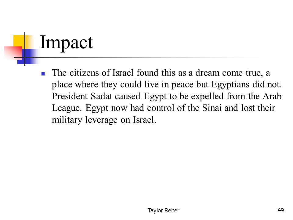 Taylor Reiter49 Impact The citizens of Israel found this as a dream come true, a place where they could live in peace but Egyptians did not.