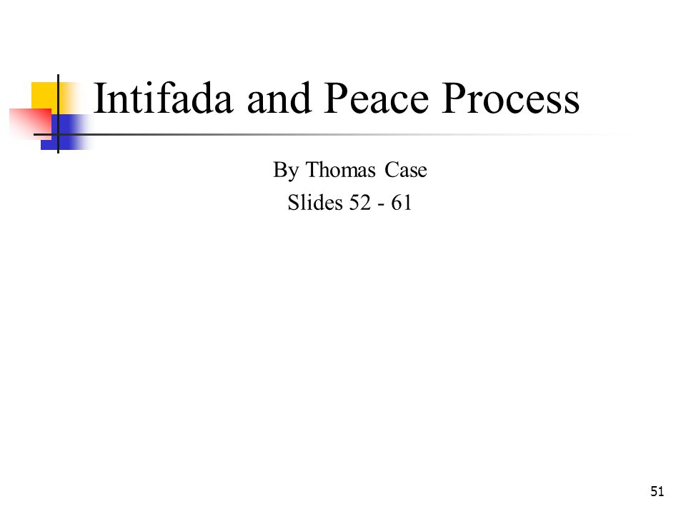 51 Intifada and Peace Process By Thomas Case Slides 52 - 61