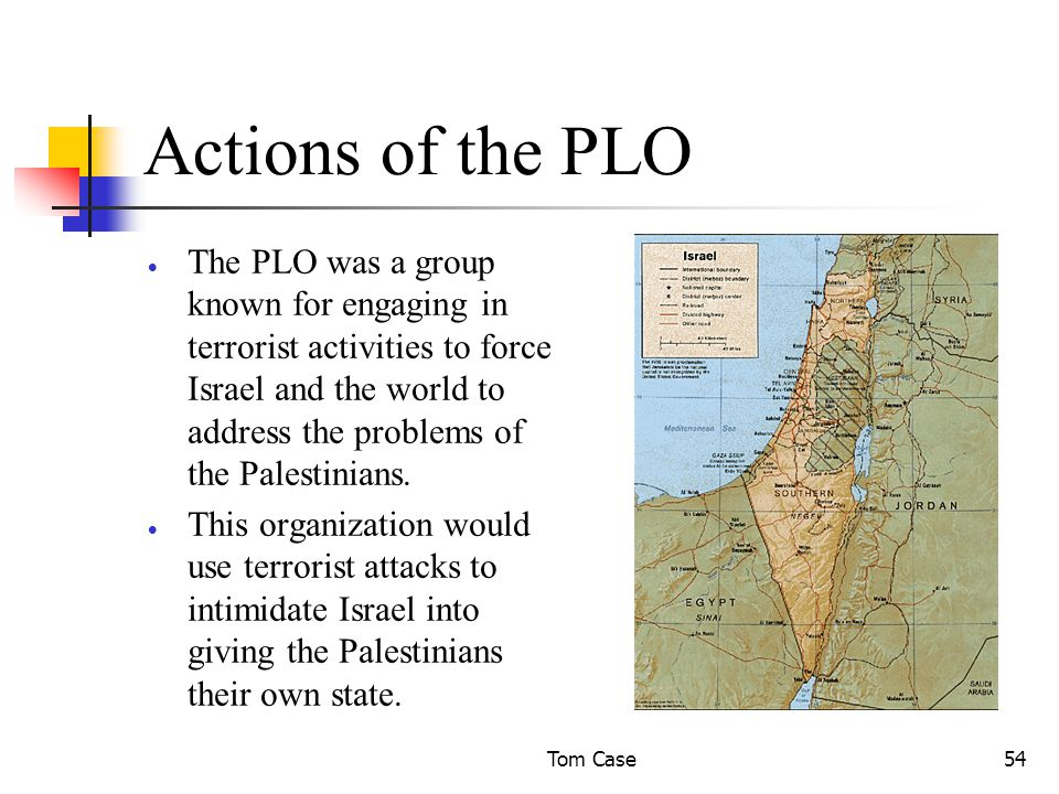 Tom Case54 Actions of the PLO  The PLO was a group known for engaging in terrorist activities to force Israel and the world to address the problems of the Palestinians.