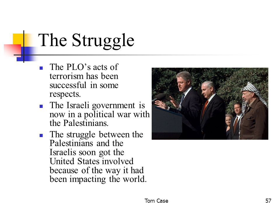 Tom Case57 The Struggle The PLO's acts of terrorism has been successful in some respects.