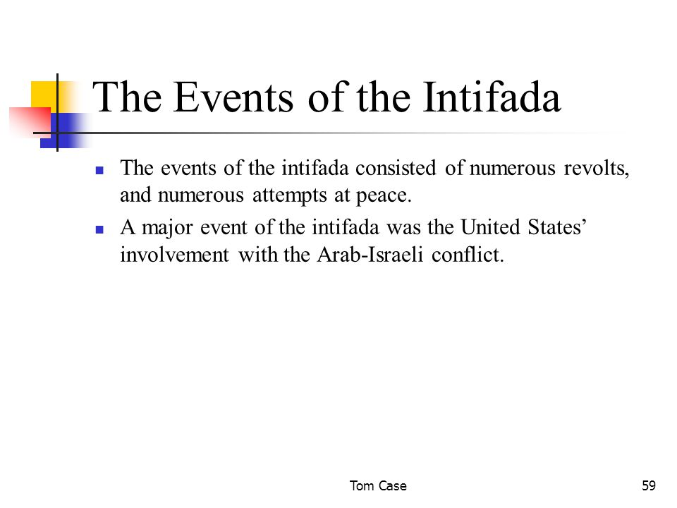 Tom Case59 The Events of the Intifada The events of the intifada consisted of numerous revolts, and numerous attempts at peace.