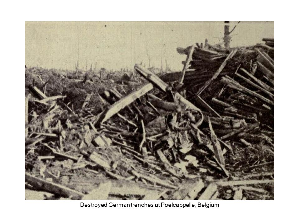 Destroyed German trenches at Passchendaele, Belgium