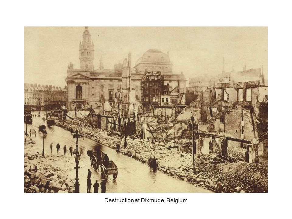 Ruins of the Cloth Hall, the cathedral and bishop s palace, Ypres, Belgium