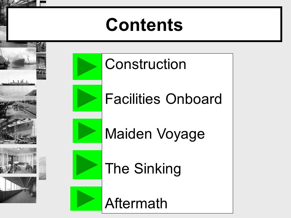 Contents Construction Facilities Onboard Maiden Voyage The Sinking Aftermath