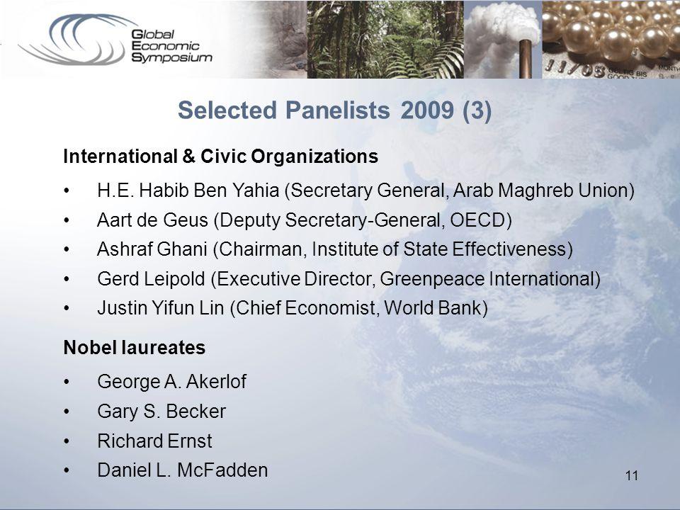 11 Selected Panelists 2009 (3) International & Civic Organizations H.E. Habib Ben Yahia (Secretary General, Arab Maghreb Union) Aart de Geus (Deputy S