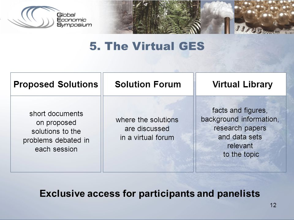 12 short documents on proposed solutions to the problems debated in each session where the solutions are discussed in a virtual forum facts and figure