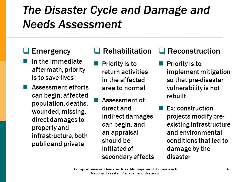 4 Comprehensive Disaster Risk Management Framework National Disaster Management Systems 4 The Disaster Cycle and Damage and Needs Assessment  Emergency In the immediate aftermath, priority is to save lives Assessment efforts can begin: affected population, deaths, wounded, missing, direct damages to property and infrastructure, both public and private  Rehabilitation Priority is to return activities in the affected area to normal Assessment of direct and indirect damages can begin, and an appraisal should be initiated of secondary effects  Reconstruction Priority is to implement mitigation so that pre-disaster vulnerability is not rebuilt Ex: construction projects modify pre- existing infrastructure and environmental conditions that led to damage by the disaster