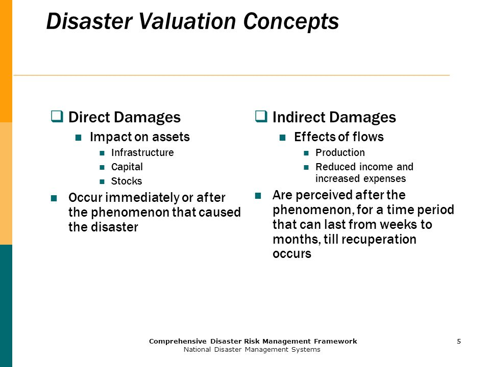 5 Comprehensive Disaster Risk Management Framework National Disaster Management Systems 5 Disaster Valuation Concepts  Direct Damages Impact on assets Infrastructure Capital Stocks Occur immediately or after the phenomenon that caused the disaster  Indirect Damages Effects of flows Production Reduced income and increased expenses Are perceived after the phenomenon, for a time period that can last from weeks to months, till recuperation occurs