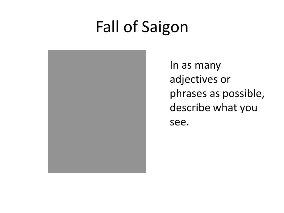 Fall of Saigon In as many adjectives or phrases as possible, describe what you see.