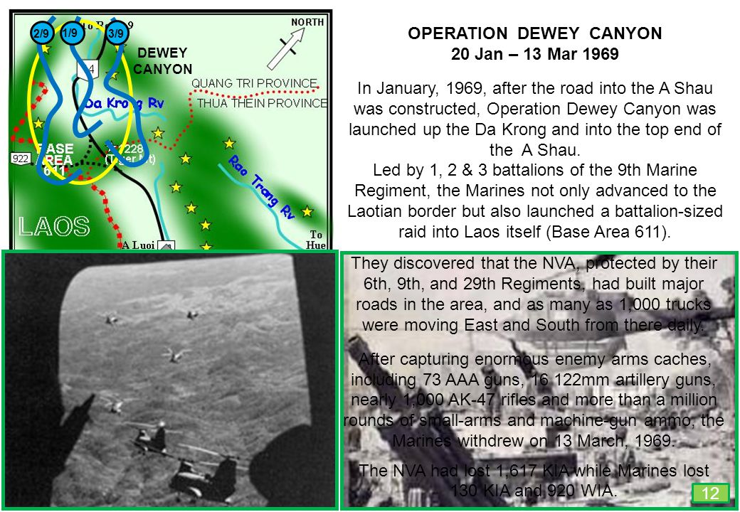 THIS SLIDE AND PRESENTATION WAS PREPARED BY DAVE SABBEN WHO RETAINS COPYRIGHT © ON CREATIVE CONTENT 10 Km 6.2 Miles OPERATION DEWEY CANYON 20 Jan – 13 Mar 1969 In January, 1969, after the road into the A Shau was constructed, Operation Dewey Canyon was launched up the Da Krong and into the top end of the A Shau.