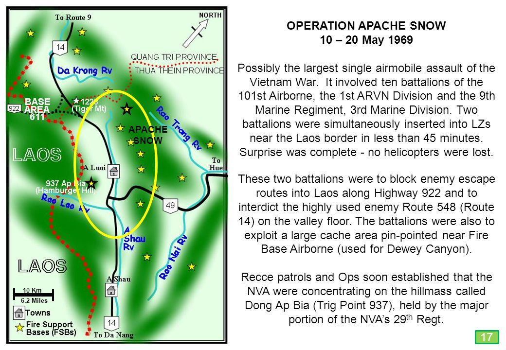 THIS SLIDE AND PRESENTATION WAS PREPARED BY DAVE SABBEN WHO RETAINS COPYRIGHT © ON CREATIVE CONTENT 10 Km 6.2 Miles OPERATION APACHE SNOW 10 – 20 May 1969 Possibly the largest single airmobile assault of the Vietnam War.