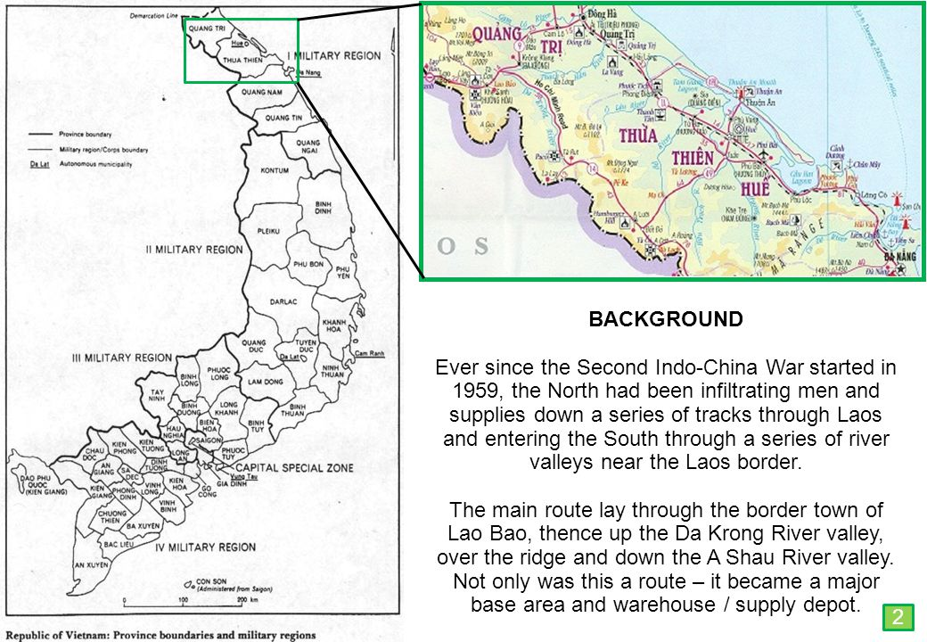 THIS SLIDE AND PRESENTATION WAS PREPARED BY DAVE SABBEN WHO RETAINS COPYRIGHT © ON CREATIVE CONTENT BACKGROUND Ever since the Second Indo-China War started in 1959, the North had been infiltrating men and supplies down a series of tracks through Laos and entering the South through a series of river valleys near the Laos border.