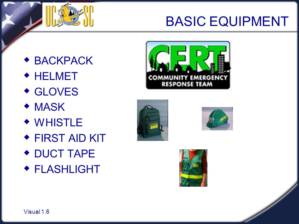 Visual 1.6 BASIC EQUIPMENT  BACKPACK  HELMET  GLOVES  MASK  WHISTLE  FIRST AID KIT  DUCT TAPE  FLASHLIGHT
