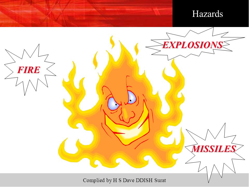 Complied by H S Dave DDISH Surat Hazards FIRE EXPLOSIONS MISSILES
