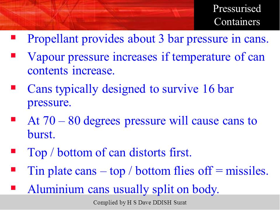 Complied by H S Dave DDISH Surat  Propellant provides about 3 bar pressure in cans.