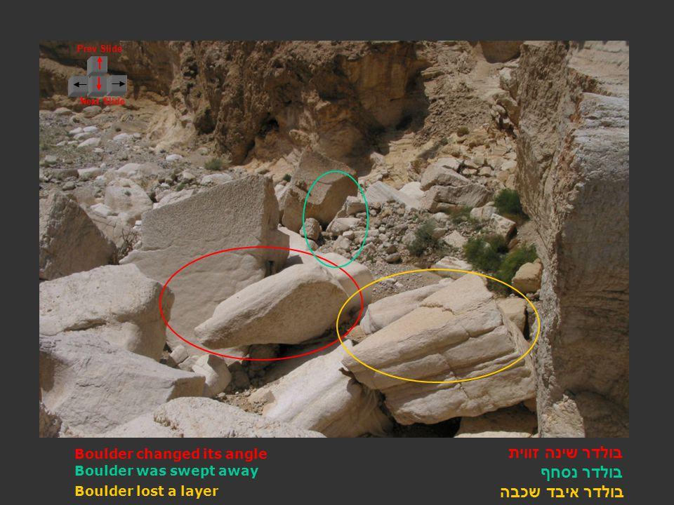 Prev Slide Next Slide בולדר שינה זווית בולדר נסחף בולדר איבד שכבה Boulder changed its angle Boulder lost a layer Boulder was swept away