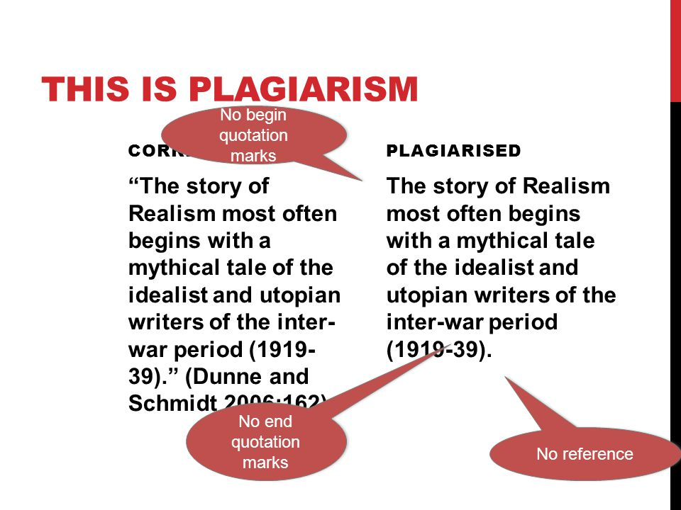 "THIS IS PLAGIARISM CORRECT ""The story of Realism most often begins with a mythical tale of the idealist and utopian writers of the inter- war period ("