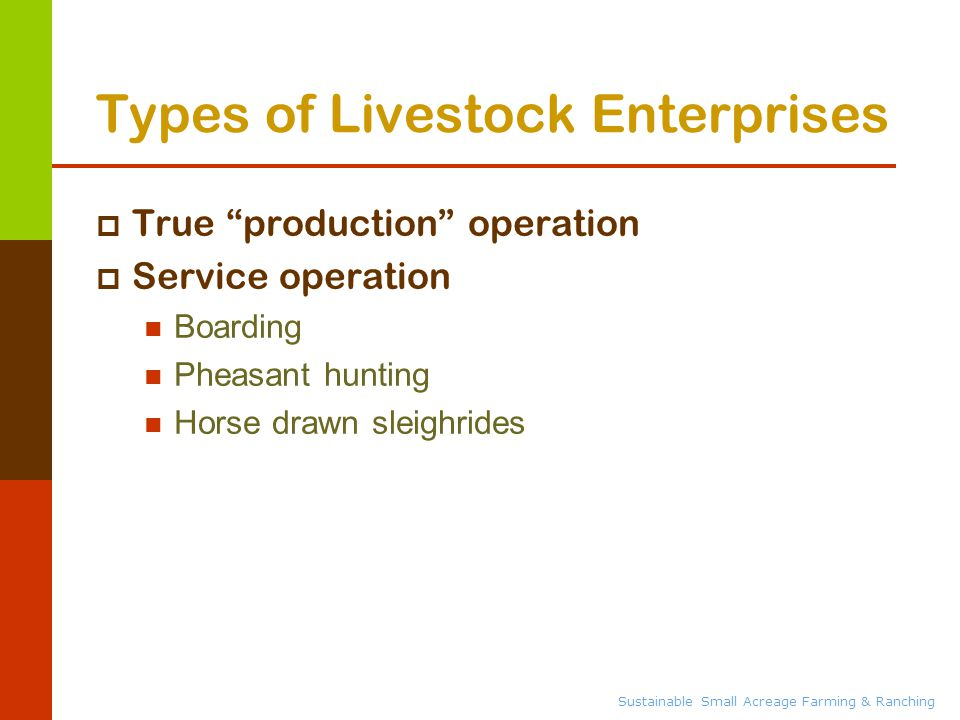 Sustainable Small Acreage Farming & Ranching Types of Livestock Enterprises  True production operation  Service operation Boarding Pheasant hunting Horse drawn sleighrides
