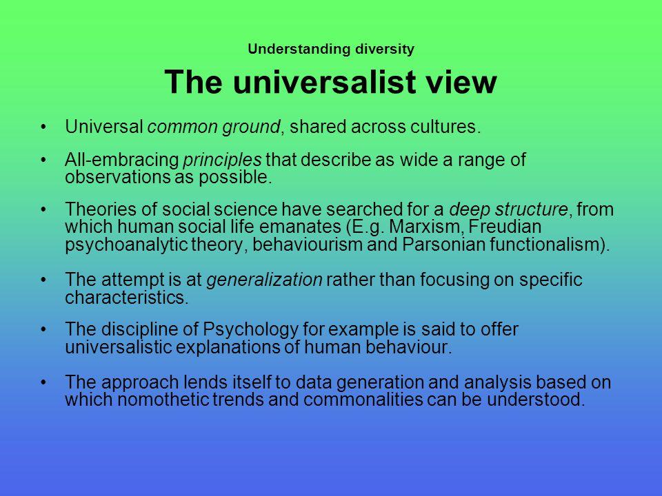 Understanding diversity The universalist view Universal common ground, shared across cultures.