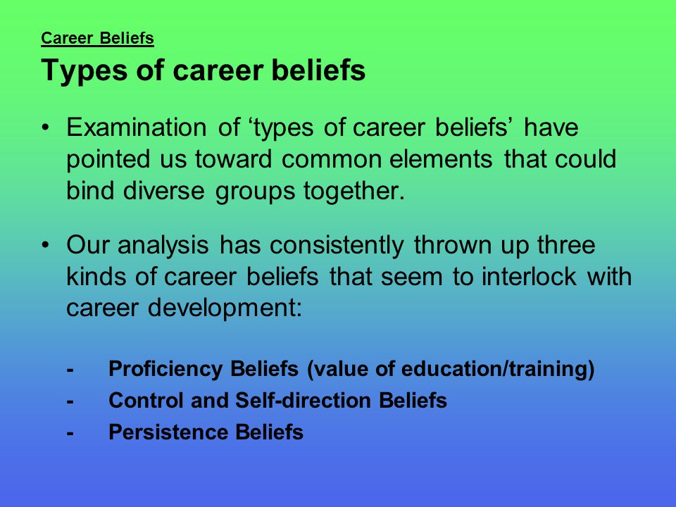Career Beliefs Types of career beliefs Examination of 'types of career beliefs' have pointed us toward common elements that could bind diverse groups together.
