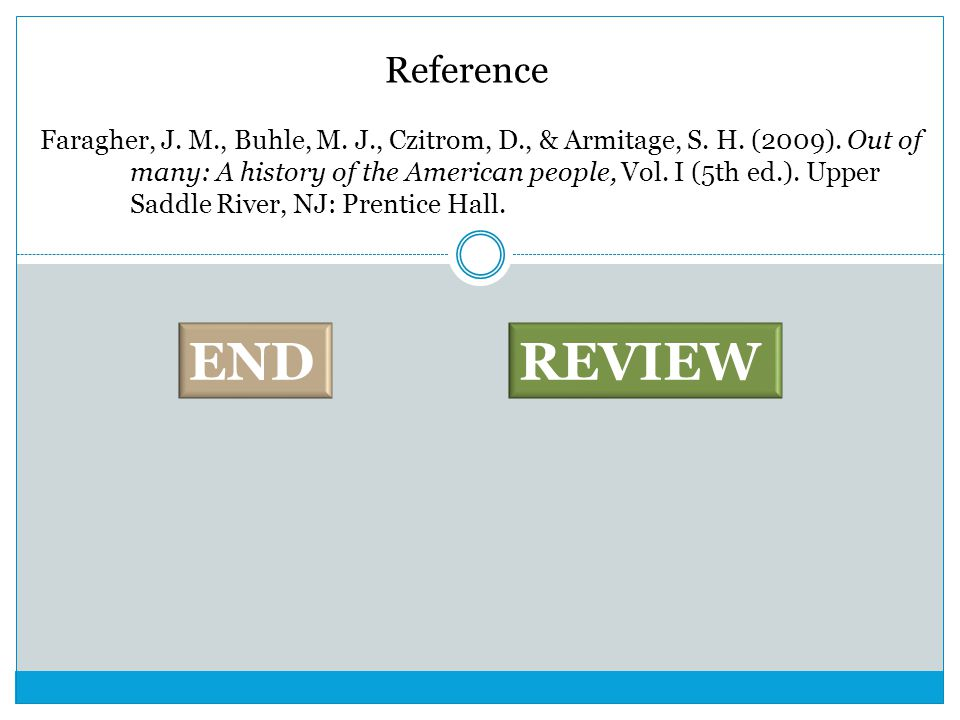 Reference Faragher, J. M., Buhle, M. J., Czitrom, D., & Armitage, S. H. (2009). Out of many: A history of the American people, Vol. I (5th ed.). Upper