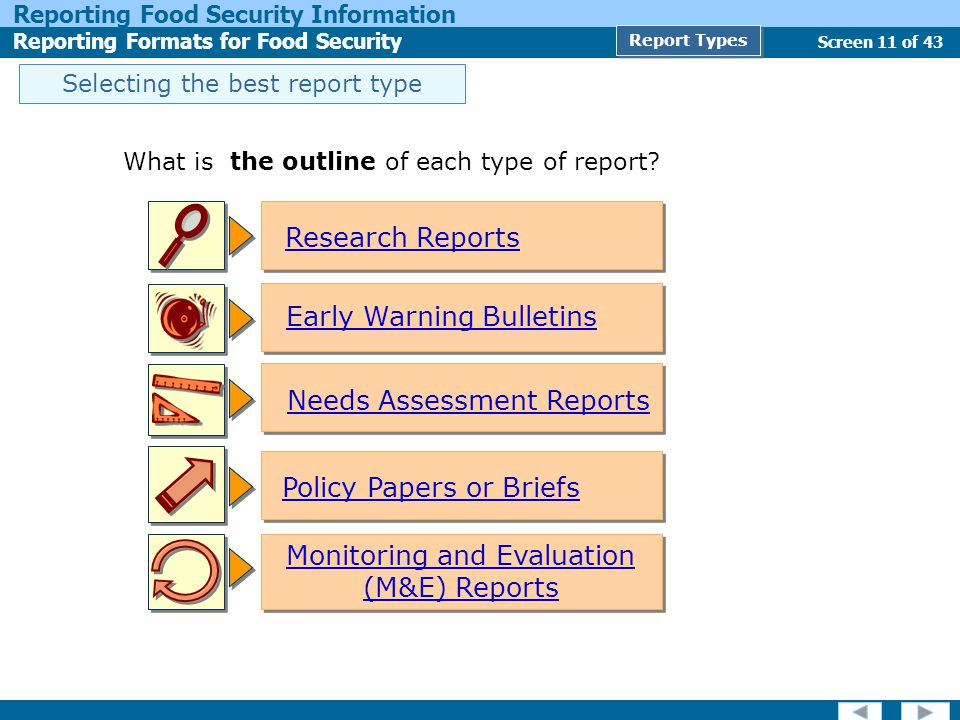 Screen 11 of 43 Reporting Food Security Information Reporting Formats for Food Security Report Types Selecting the best report type What is the outline of each type of report.
