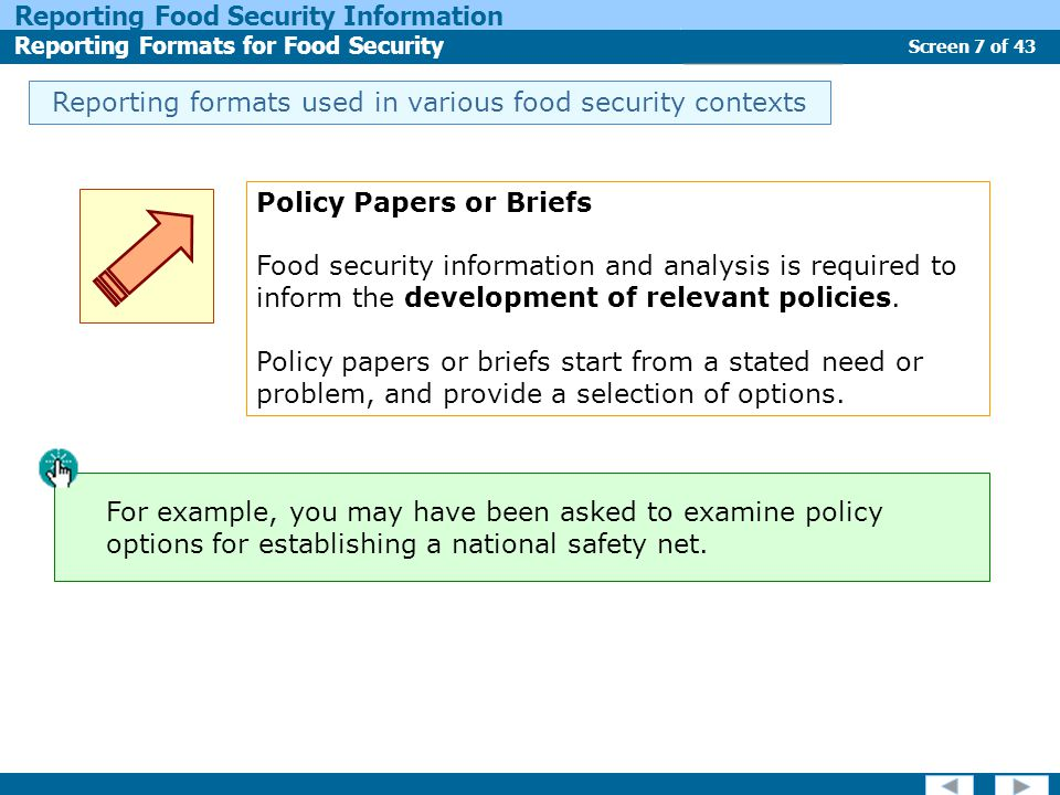 Screen 7 of 43 Reporting Food Security Information Reporting Formats for Food Security Report Types Reporting formats used in various food security contexts Policy Papers or Briefs Food security information and analysis is required to inform the development of relevant policies.