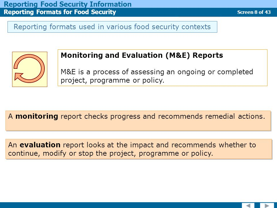 Screen 8 of 43 Reporting Food Security Information Reporting Formats for Food Security Report Types Reporting formats used in various food security co