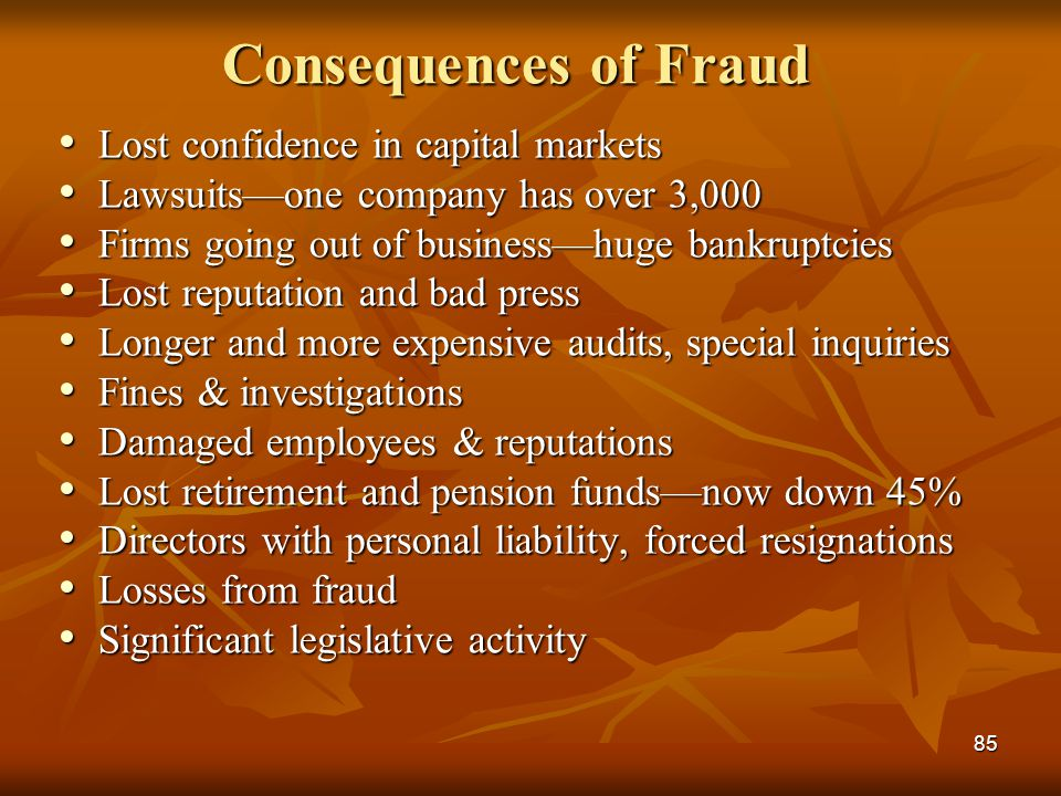 85 Consequences of Fraud Lost confidence in capital markets Lost confidence in capital markets Lawsuits—one company has over 3,000 Lawsuits—one compan