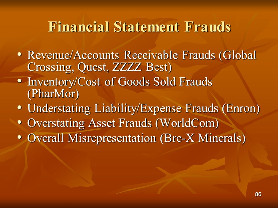86 Financial Statement Frauds Revenue/Accounts Receivable Frauds (Global Crossing, Quest, ZZZZ Best) Revenue/Accounts Receivable Frauds (Global Crossi