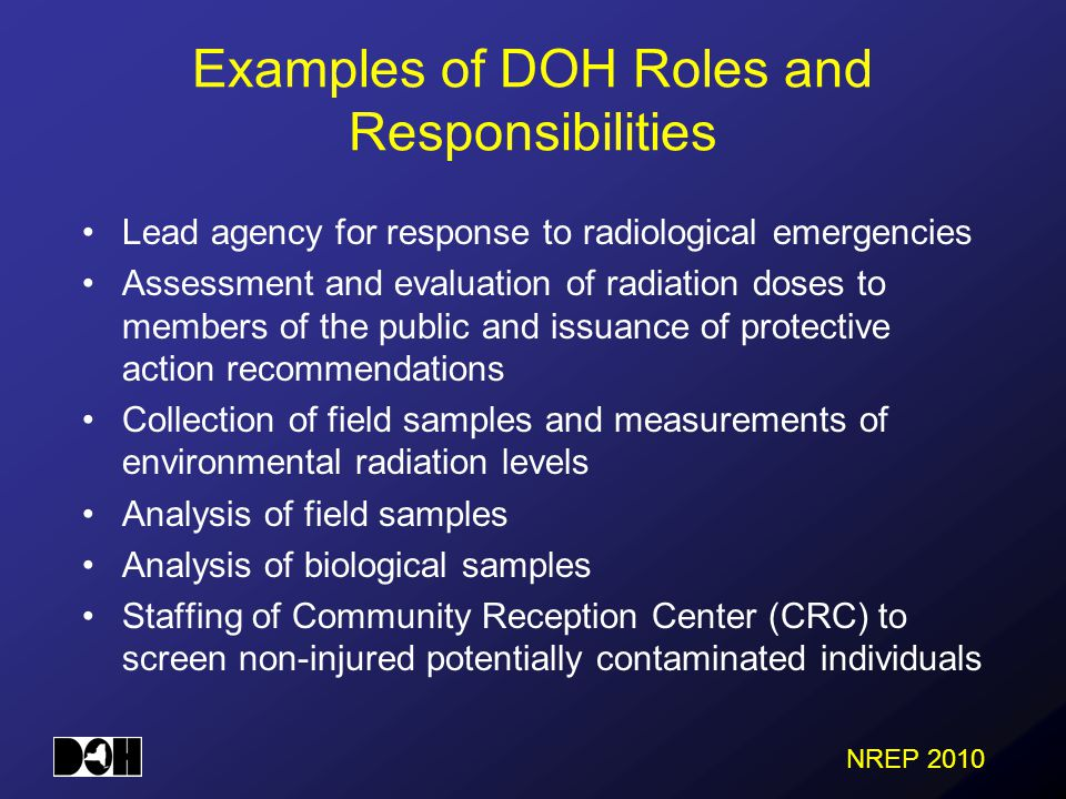 NREP 2010 Examples of DOH Roles and Responsibilities Lead agency for response to radiological emergencies Assessment and evaluation of radiation doses to members of the public and issuance of protective action recommendations Collection of field samples and measurements of environmental radiation levels Analysis of field samples Analysis of biological samples Staffing of Community Reception Center (CRC) to screen non-injured potentially contaminated individuals