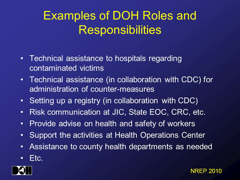 NREP 2010 Technical assistance to hospitals regarding contaminated victims Technical assistance (in collaboration with CDC) for administration of counter-measures Setting up a registry (in collaboration with CDC) Risk communication at JIC, State EOC, CRC, etc.