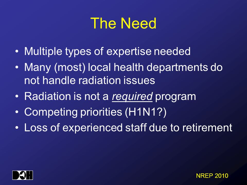 NREP 2010 The Need Multiple types of expertise needed Many (most) local health departments do not handle radiation issues Radiation is not a required program Competing priorities (H1N1 ) Loss of experienced staff due to retirement