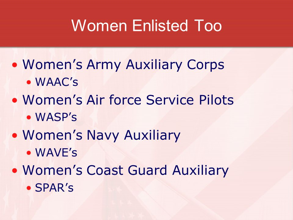Women Enlisted Too Women's Army Auxiliary Corps WAAC's Women's Air force Service Pilots WASP's Women's Navy Auxiliary WAVE's Women's Coast Guard Auxiliary SPAR's