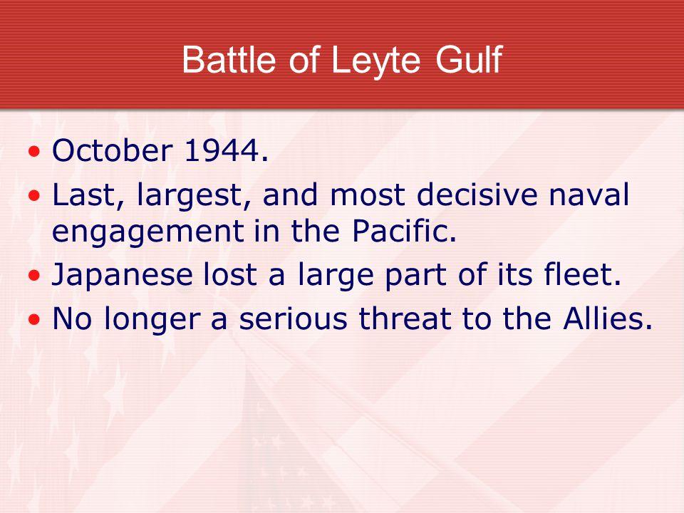 Battle of Leyte Gulf October 1944.