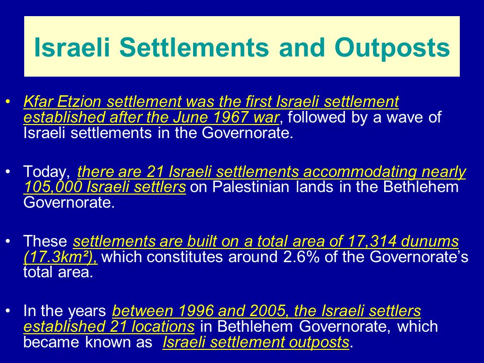 Distribution of Israeli Settlements, Outposts and Bypass Roads in the Bethlehem Governorate