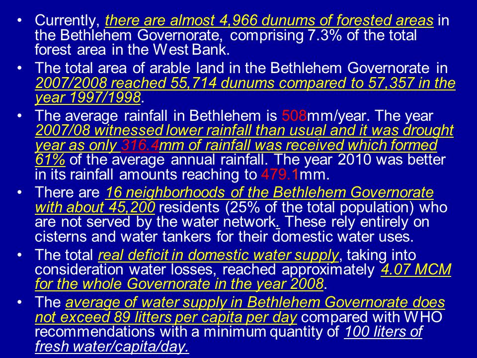 Only 9 communities in the Bethlehem Governorate are served, either totally or partially, by wastewater networks.