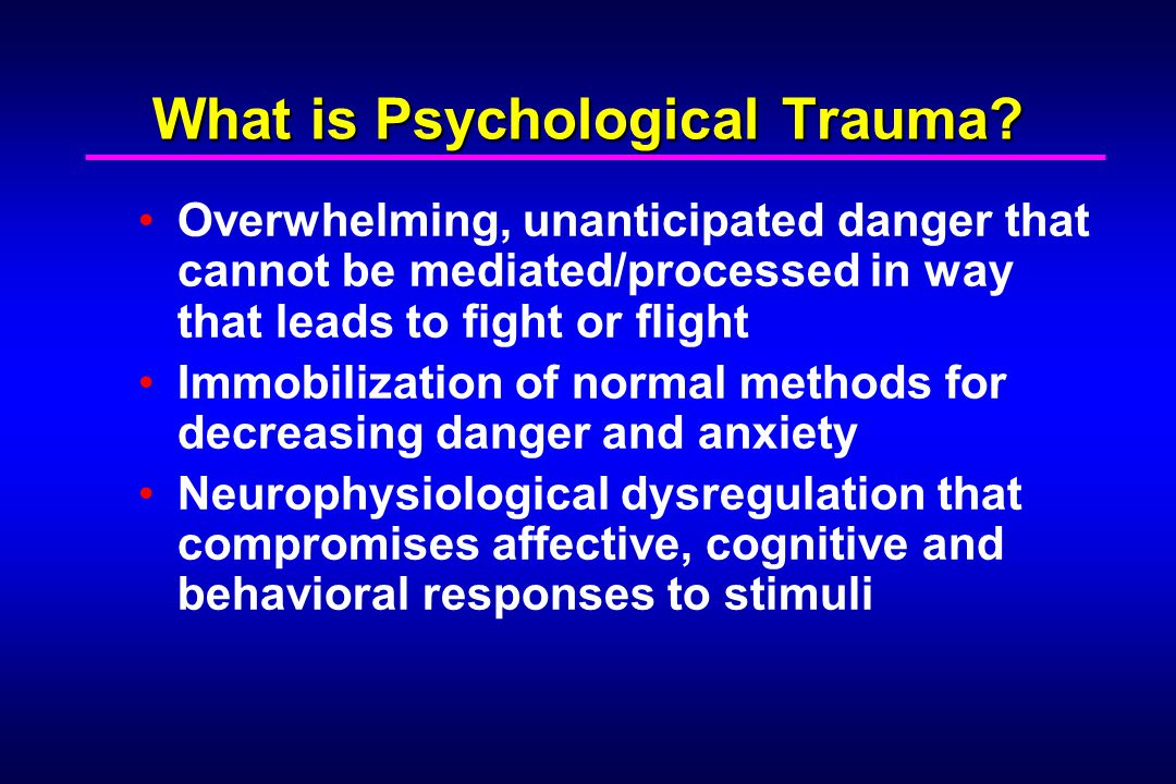 Implications of Neurobiological Development for Treatment Hippocampus not fully functional until 4-5 years old + Prefrontal cortex not until around age 10 Treatment of child trauma survivors thus: Must facilitate developmentally-appropriate expression (e.g., drawing, play) Must focus on age-relevant categories/themes (i.e., basic schemata, e.g., safe-unsafe) Must not encourage premature closure/decisions or expose the child to information/affect overload