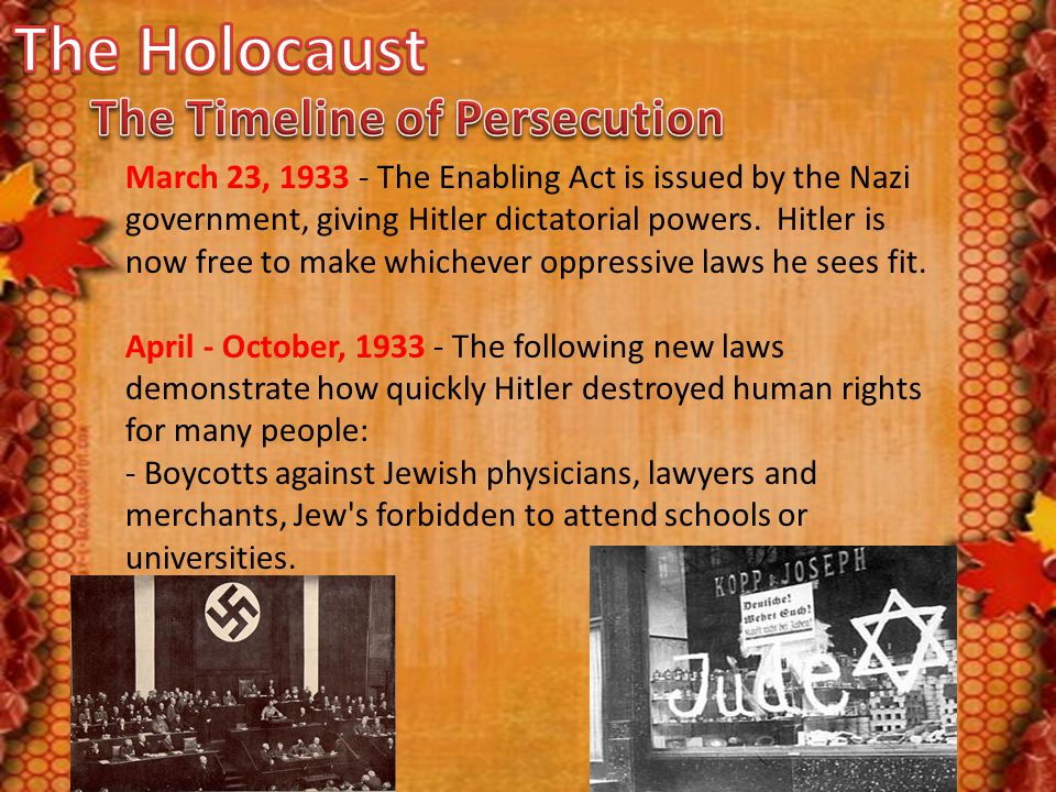 March 23, 1933 - The Enabling Act is issued by the Nazi government, giving Hitler dictatorial powers. Hitler is now free to make whichever oppressive