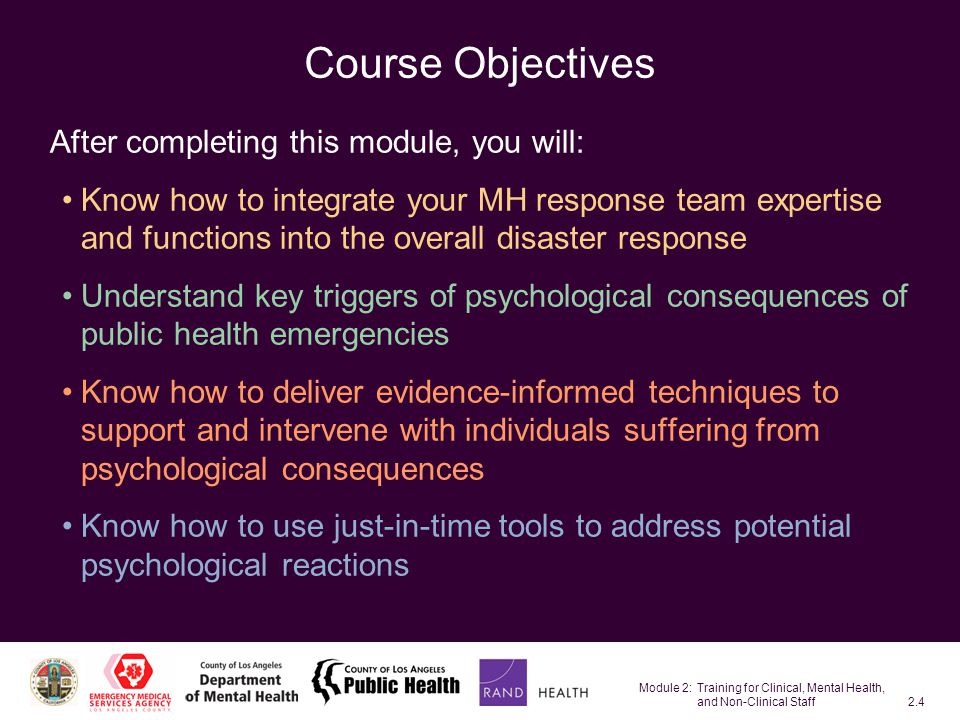 Module 2: Training for Clinical, Mental Health, and Non-Clinical Staff2.45 5.