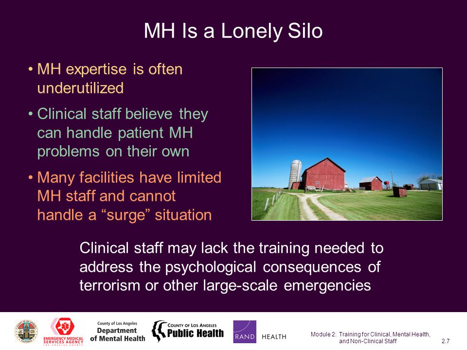 Module 2: Training for Clinical, Mental Health, and Non-Clinical Staff2.58 Needs Resulting from Perceived Risk: Special Populations Perceived personal or family risk: Fear or concern about the safety and well-being of yourself or loved ones Children: –Children may be more fearful than others –Their parents will be concerned if they are separated from their children The SMI—their cognitive impairment could mask actual risk and fear