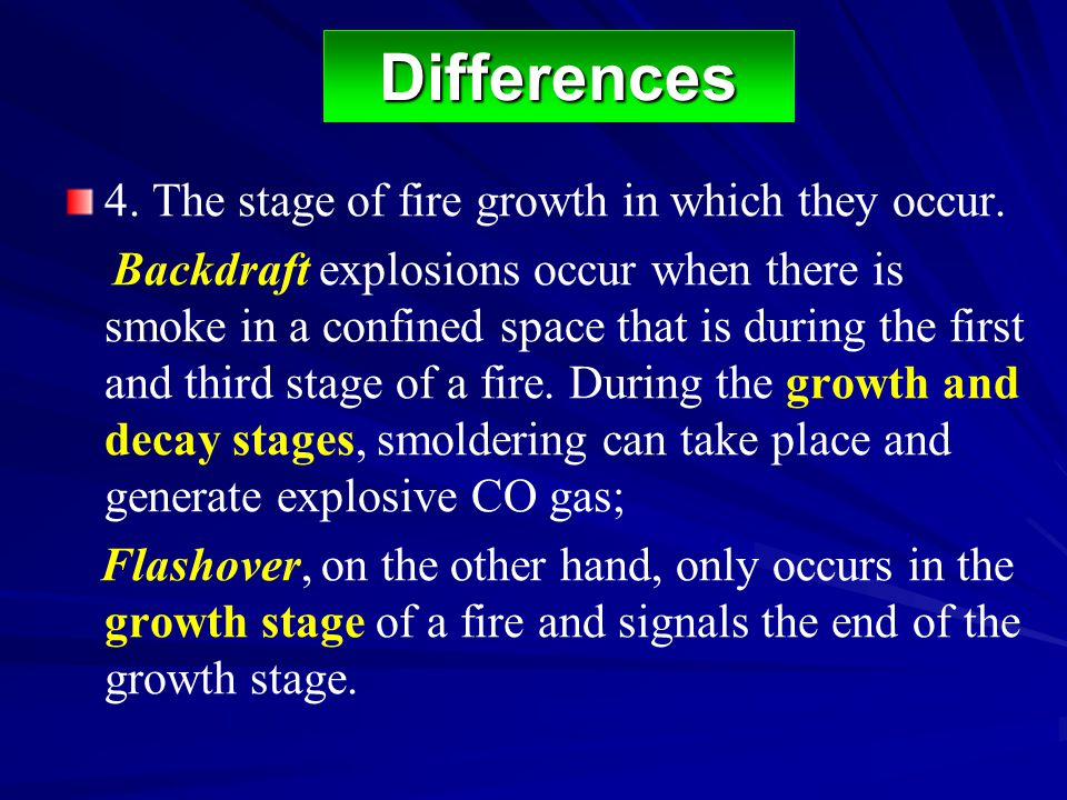 4. The stage of fire growth in which they occur. Backdraft explosions occur when there is smoke in a confined space that is during the first and third