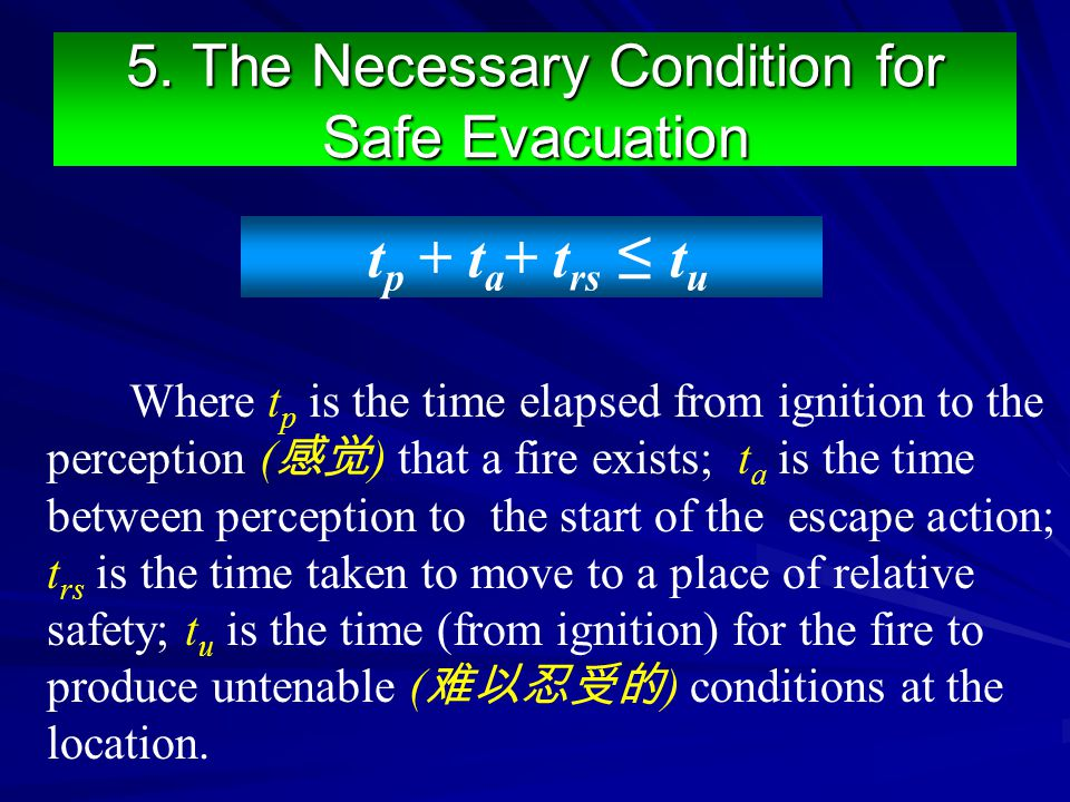 5. The Necessary Condition for Safe Evacuation Where t p is the time elapsed from ignition to the perception ( 感觉 ) that a fire exists; t a is the tim