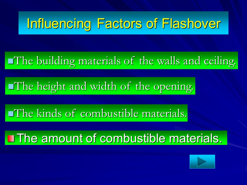 Influencing Factors of Flashover The amount of combustible materials. The building materials of the walls and ceiling. The building materials of the w